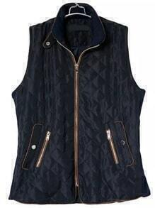 Navy Sleeveless Quilting Diamond Patterned Vest