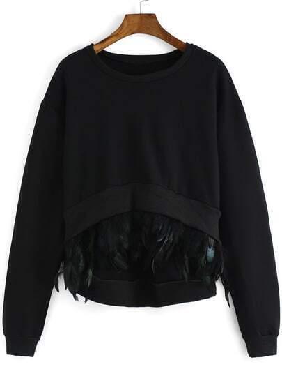 Sweat-shirt trapèze en plume col rond -noir