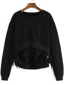 Black Round Neck Feather Embellished Dip Hem Sweatshirt
