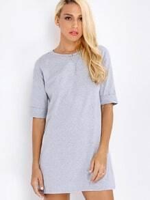 Grey Half Sleeve T-Shirt Dress