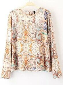 Multicolor Round Neck Floral Loose Blouse