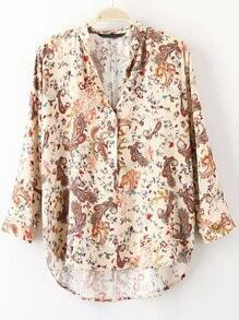 Multicolor V Neck Cashew Print Blouse