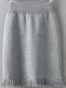 Grey Tassel Knit Bodycon Skirt
