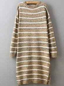 Khaki White Round Neck Striped Split Sweater
