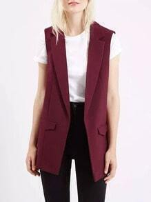 Red Notch Lapel Slim Vest