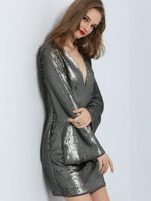 Grey Plunge Neck Bell Sleeve Sequined Dress