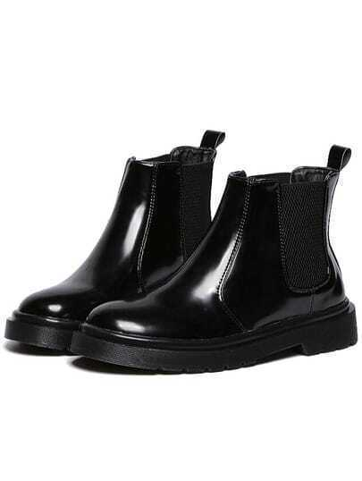 Black Thick-soled Patent Leather Boots