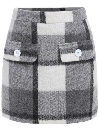 Black Grey Plaid Split Skirt