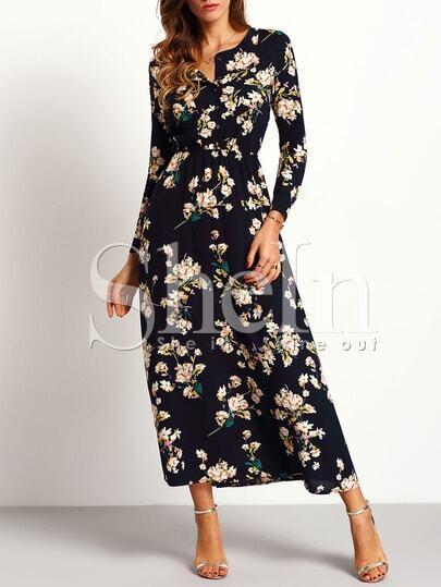 Long Sleeve Floral Maxi Dress -SheIn(Sheinside)