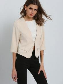 Beige 3/4 Sleeve Pockets Slim Blazer