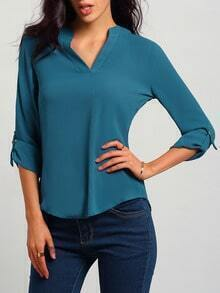 Blue V Neck Loose Casual Blouse