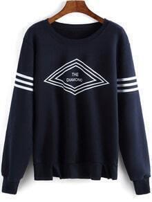 Navy Round Neck Geometric Print Sweatshirt