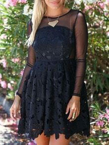 Black Round Neck Sheer Mesh Floral Crochet Dress
