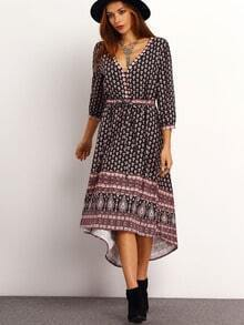 Brown V Neck Vintage Print Dress
