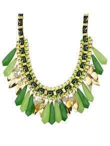 Green Long Stone Statement Collar Necklace