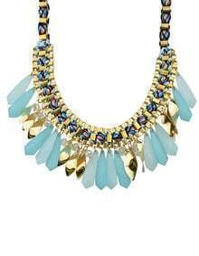 Blue Long Stone Statement Collar Necklace