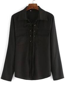 Black Lapel Lace Up Pockets Blouse