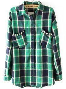 Green Blue Lapel Rhinestone Plaid Pockets Blouse