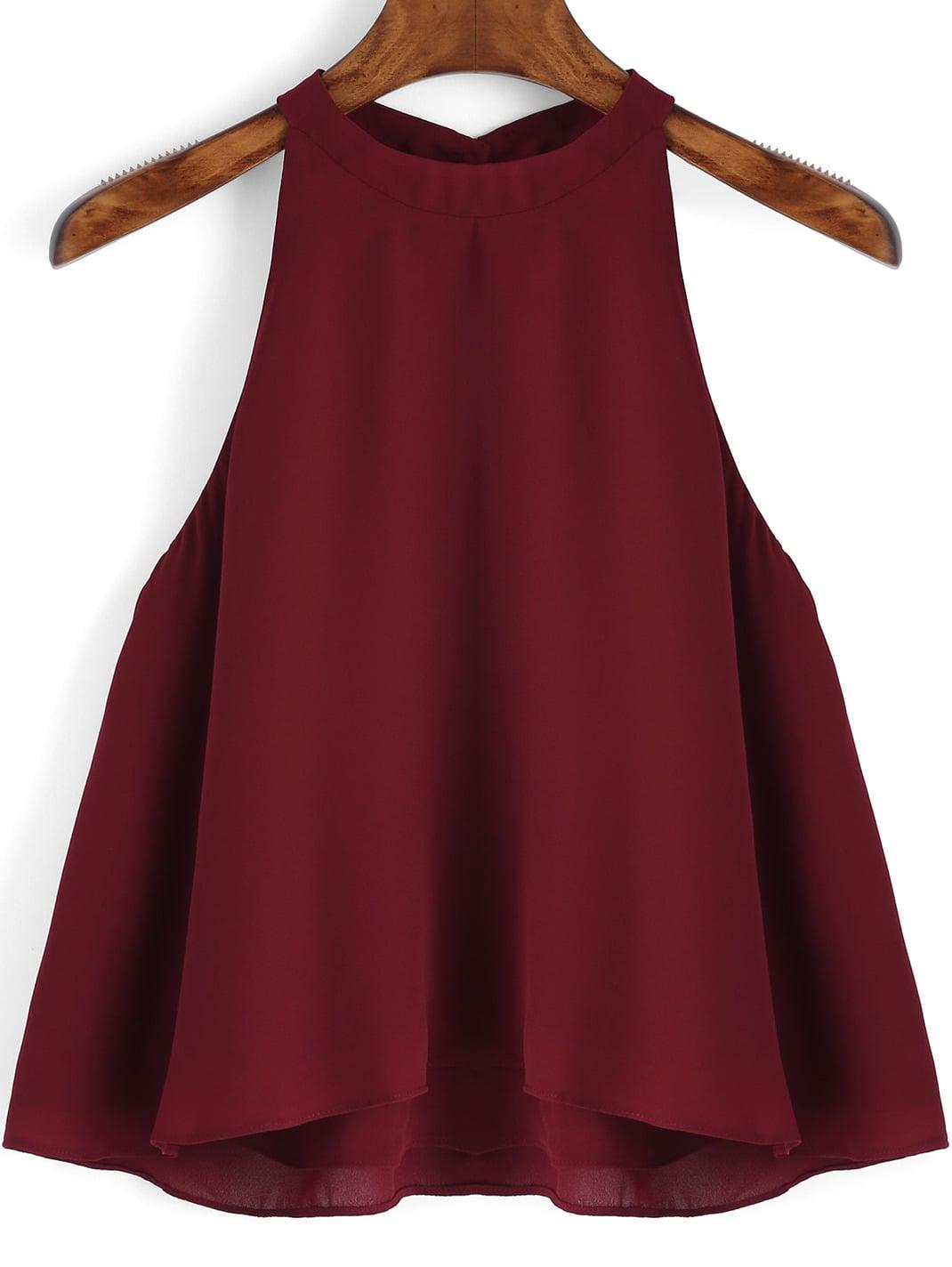 Burgundy Loose Cami Top vest151105051