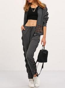 Dark Grey Hooded Leopard Top With Pant