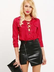 Burgundy Lapel Lace Up Pockets Blouse