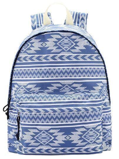 Blue Geometric Print Backpack
