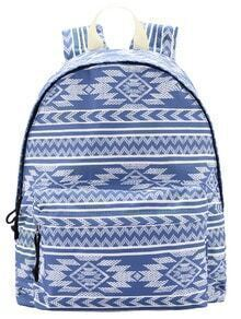 Blue Geometric Print Backpack