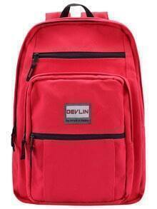 Red Classical Zipper Canvas Backpack