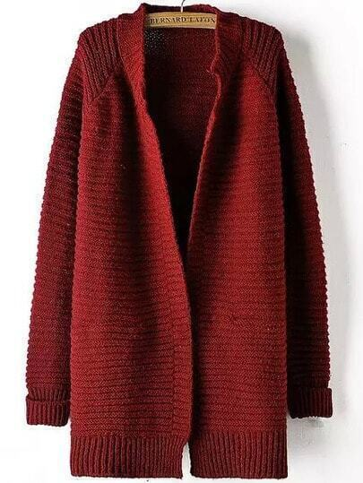 Red Long Sleeve Striped Patterned Cardigan