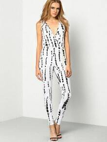 White Deep V Neck Ink Print Jumpsuit