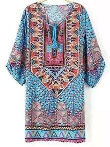 Colour Tie-neck Geometric Print Dress