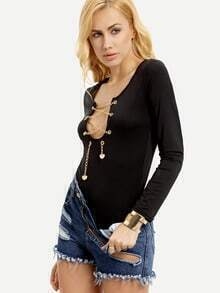 Black Long Sleeve Chain Lace Up Bodysuits