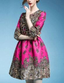 Rose Red Round Neck Floral Jacquard Dress