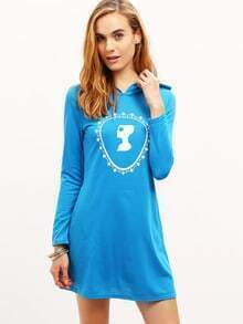 Blue Hooded Long Sleeve Loose Dress