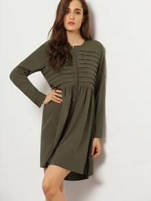 Army Green Long Sleeve Dress