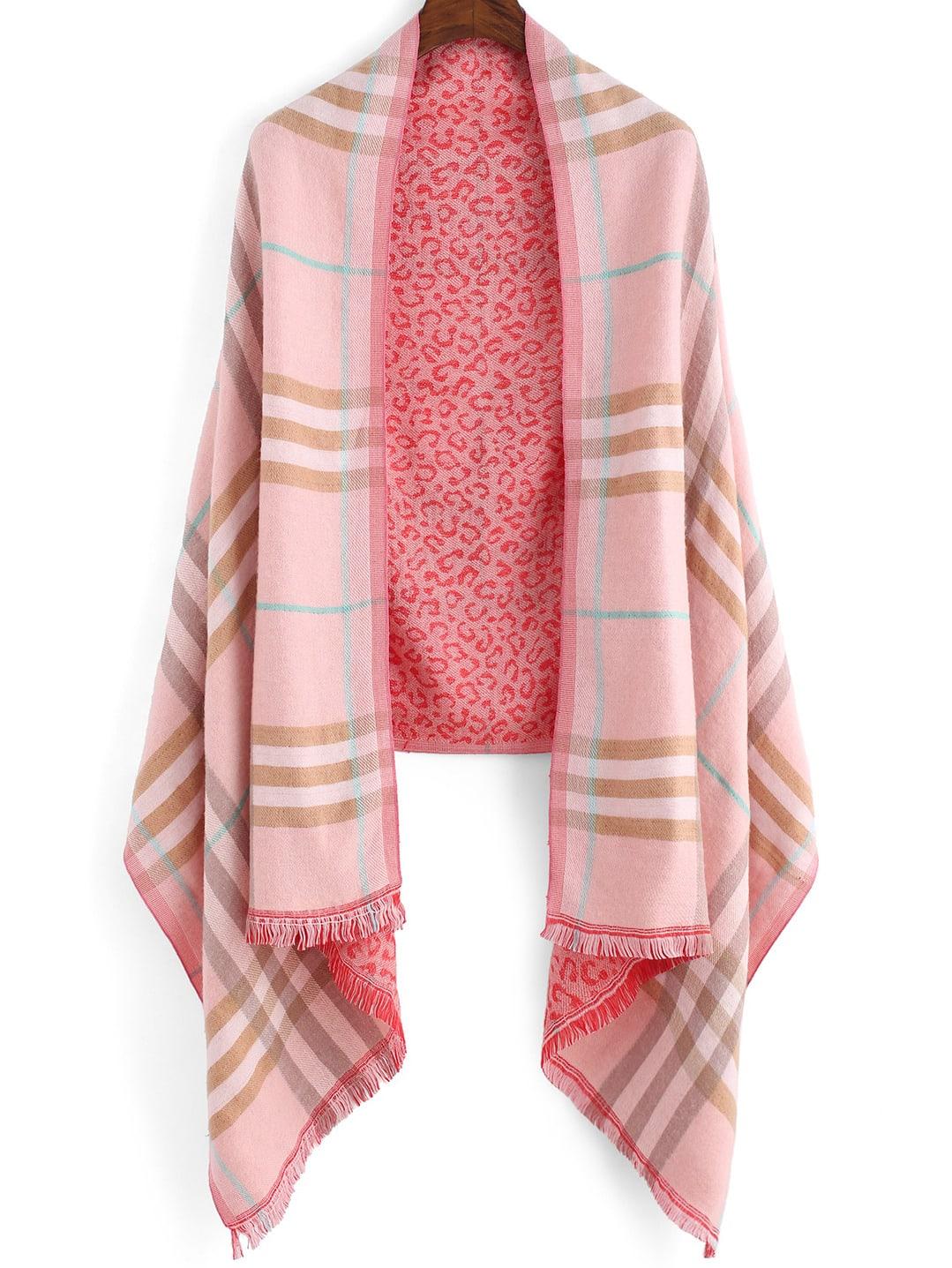 Pink Striped Leopard Scarve -SheIn(Sheinside)