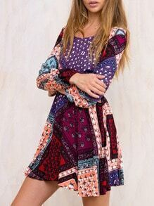 Multicolor Round Neck Patchwork Dress