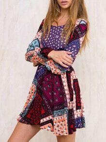 Multicolor Round Neck Patchwork Dress