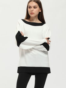 White Black Long Sleeve Color Block T-Shirt