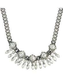 White Rhinestone Wedding Statement Fashion Necklace for Women