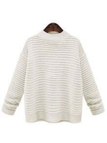 White Mock Neck Striped Loose Sweater