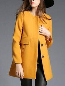 Yellow Round Neck Single Breasted Woolen Coat