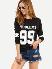 Black Round Neck Letters 99 Print Sweatshirt