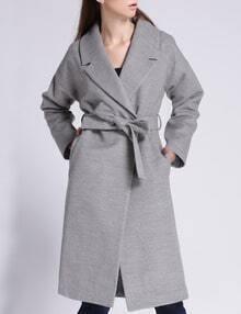 Grey Lapel Pockets Woolen Long Coat