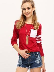 Red White Round Neck Striped Loose T-Shirt