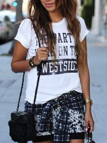 White Short Sleeve Letters Print T-Shirt