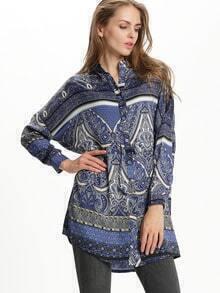 Blue Stand Collar Paisley Print Shirt Dress