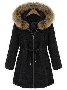Black Fur Trim Hood Drawstring Waist Wool Coat