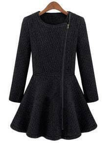 Black Round Neck Side Zipper Placket Flare Hem Coat