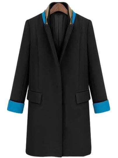 Black Stand Collar Long Sleeve Pockets Coat